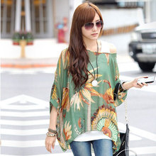 2017 Summer Autumn New Women Lady Bohemian Batwing Sleeve Chiffon Beach Loose Shirt Blouse Tops