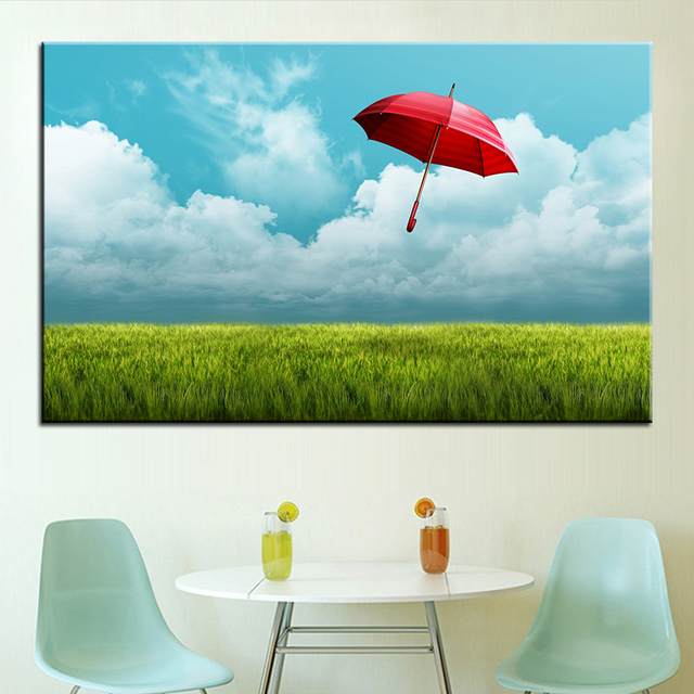 Large size Printing Oil Painting red umbrella Wall painting Decor ...