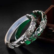 Pure 925 Silver Bangle Green White Opal Marcasite 100% S925 Sterling Diameter 5.9cm Bangles for Women Jewelry