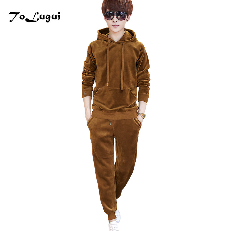 Sportswear Men 2018 Autumn O-neck Fashion Mens Set Velvet Tracksuit Hoodies Sweatshirt+Pants Casual Mens Set Two Piece Set ...