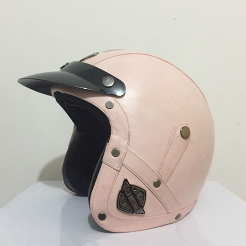 New arrival womens motorcycle helmet Retro PU leather open face helmet Vintage scooter helmet Pink moto casco with free goggles