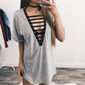 New Fashion Womens Loose Bandage Pullover T-Shirt Short Sleeve Cotton Tops