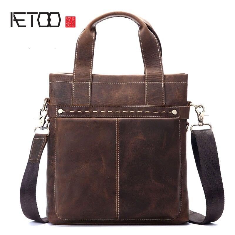 AETOO Men s leather briefcase Messenger bag men s handbag Guangzhou leather bag crazy horse skin