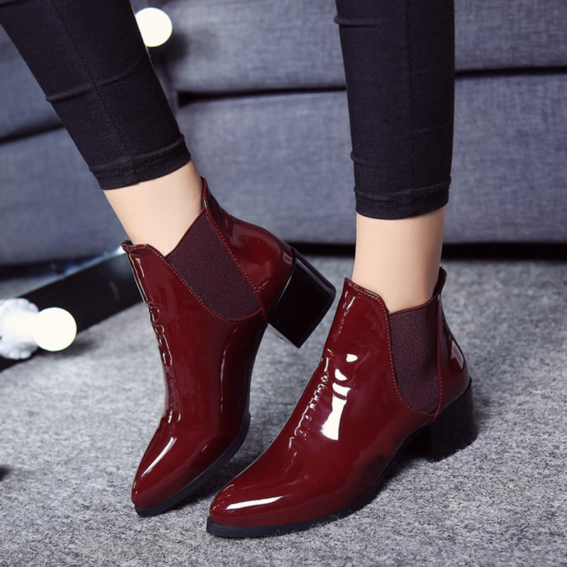 NEW women riding ankle boots high heel winter elastic band pointed toe fashion black wine red warm shoes Casual Handmade shoes 2018 new arrival microfiber round toe buckle solid fashion winter boots superstar warm thick heel handmade women ankle boots l01