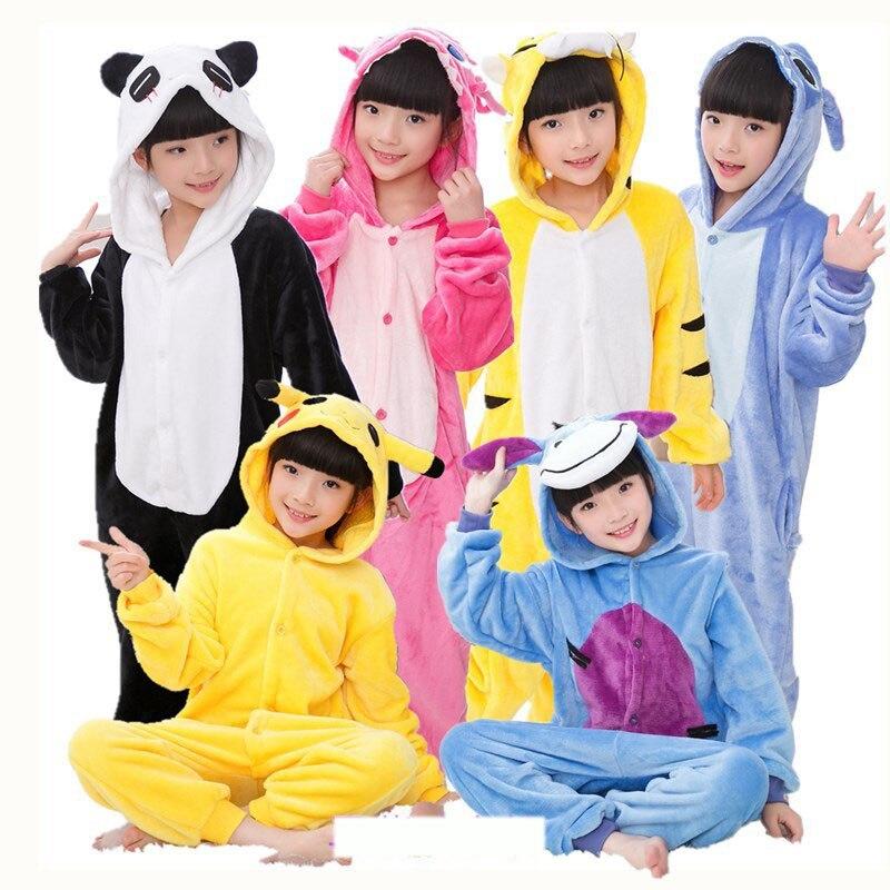 Children Kigurumi  Unicorn Pajamas Stitch Panda Onesies Boys Girls Sleepwear Winter Pajamas Flannel Animal  Kids Onesie 4-12 Yea