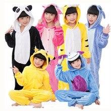 Children Kigurumi  Unicorn Pajamas Stitch Panda Onesies Boys Girls Sleepwear Winter Pajamas Flannel Animal  Kids Onesie 4-12 Yea все цены