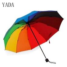 YADA 10 Bone Rainbow Umbrella Outdoor Sunshade Advertising Rain Women High Quality For Womens Folding Umbrellas YS055