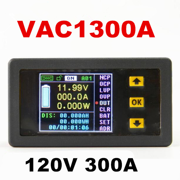 4pcs VAC1300A Multifunction Wireless Bi-directional Volt Ammeter Capacity Watt Table Coulometer voltmeter tester 120V/300A платье lost ink curve lost ink curve lo030ewlqm56