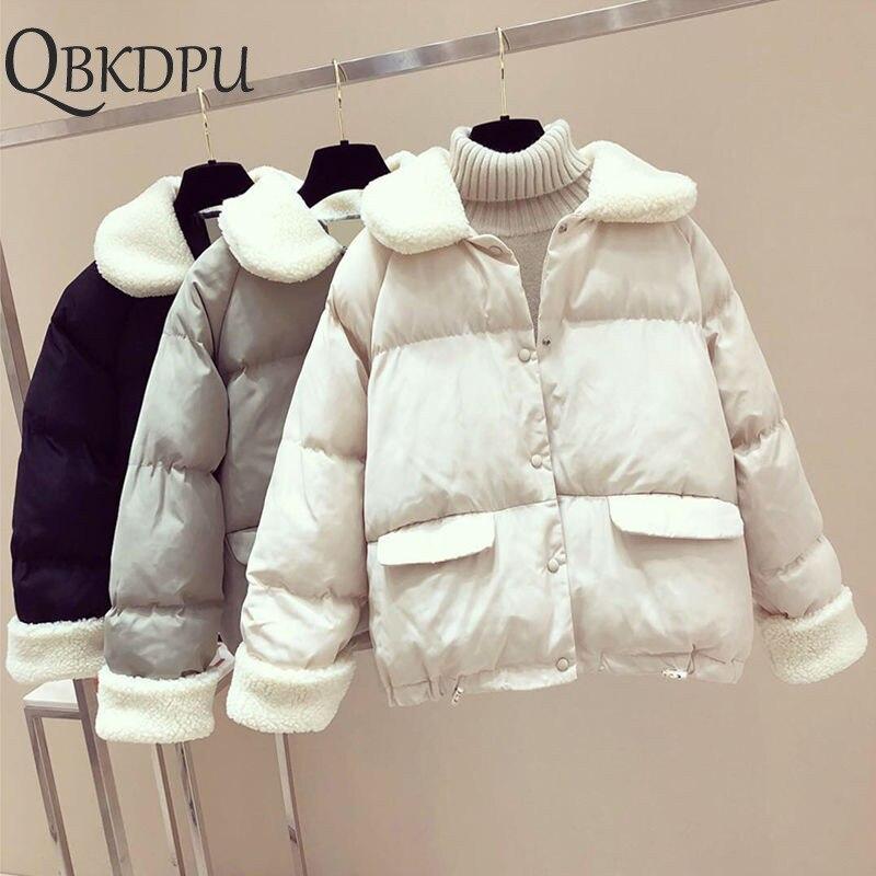 Autumn Winter Warm Coat Jacket Women Loose Thick Cotton Down   Parkas   2019 Padded Coat Female Slim Lambswool Short Jackets Outwear