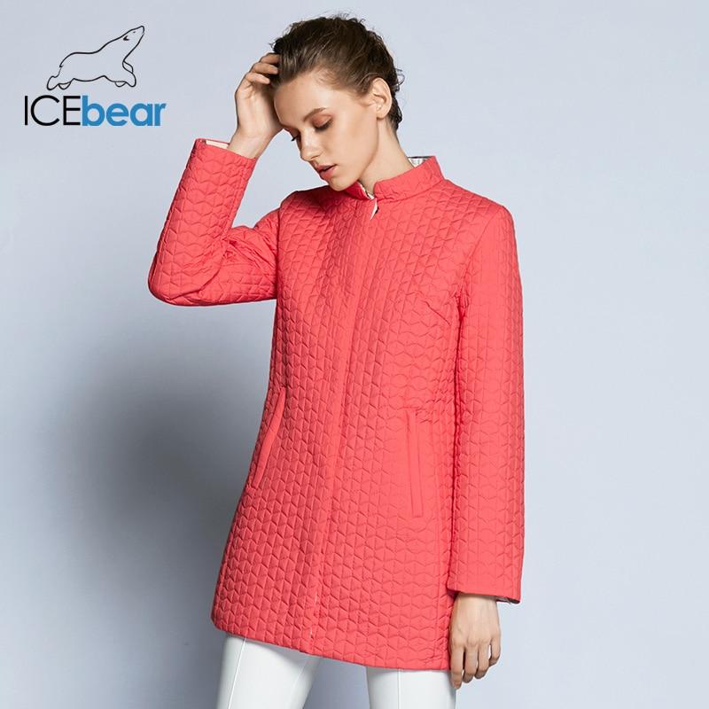 ICEbear Inside Zipper Pocket Designed Cotton Padded Jacket In Womens Parkas Long Thin Women's Coats Round Collar 17G270D