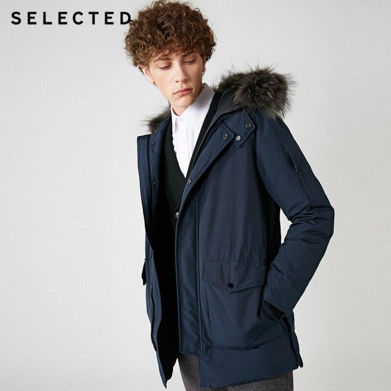 Select hommes hiver fourrure de raton laveur col Parka doudoune chaud longs vêtements grandes poches Style moyen manteau S   418412535 - 4