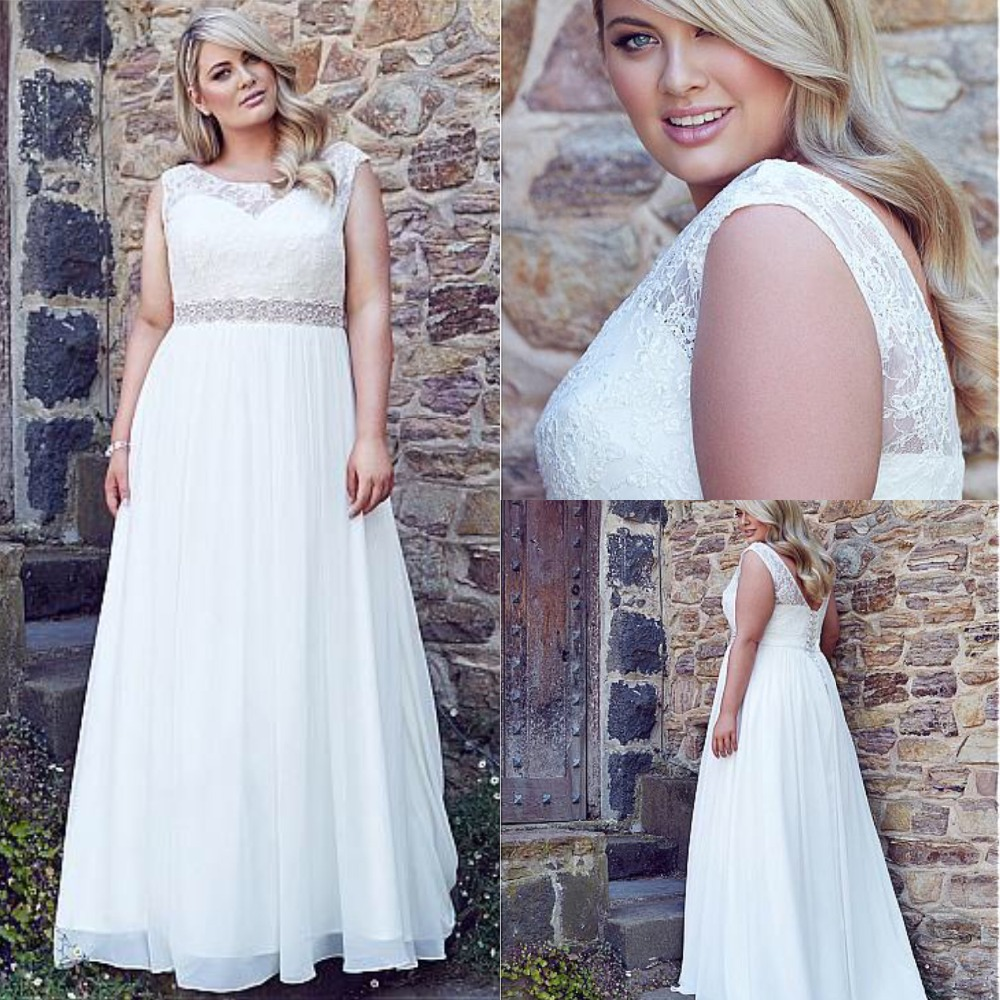Charming Chiffon Scoop Neckline A line Wedding Dresses Beaded Lace Up Bridal Gowns Plus Size Wedding