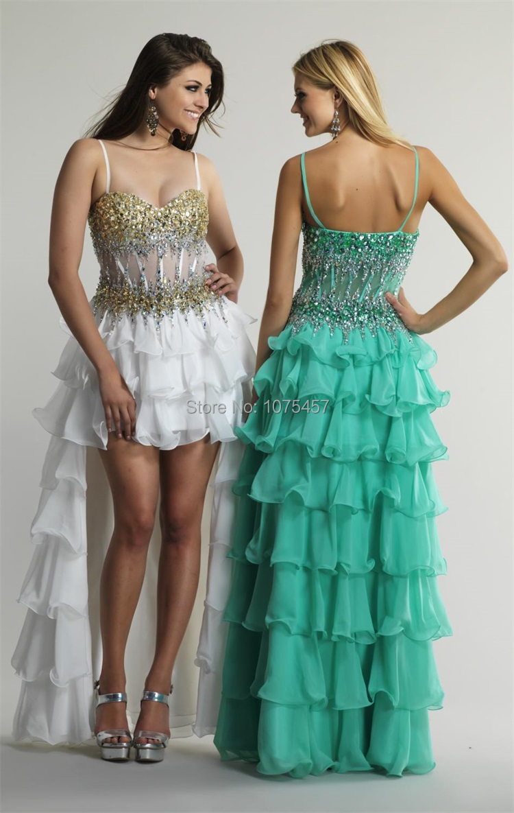 New Arrival Emerald Green High Low Prom Dress 2015 See Through ...