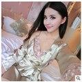 Женская летний новый пять рукава шелковые пижамы сексуальные ночной рубашке из двух частей бытовая одежда
