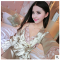 Women's summer new five sleeves silk pajamas sexy nightgown two-piece household clothes