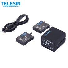 TELESIN Slots Dual USB Carregador de Bateria com Substituição 2×1200 mAh Bateria Sobressalente com Cabo De Carregamento para Gopro Hero 4