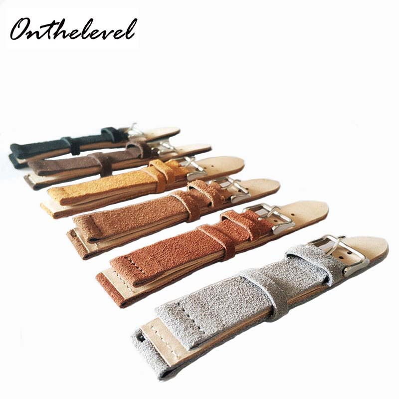 Onthelevel 18mm 20mm 22mm 24mm Suede Watch Strap Double Layer Leather Handmade Vintage Band suede Watchbands #C