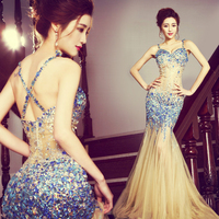 Sexy Backless Perspective Dress Full Diamond Crystals Leotard one piece Mermaid dresses Nightclub host singer Party performance