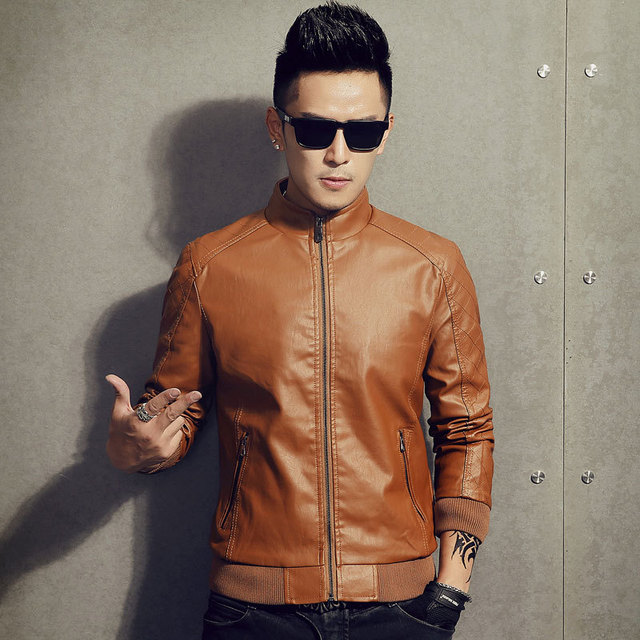 2016 new men 's leather motorcycle leather jacket Slim plus suede leather jacket collar casual PU leather