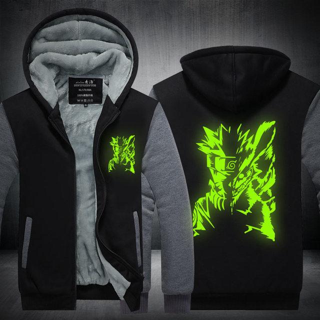 Naruto Sasuke Cosplay  Jacket Men Thicken Zipper Luminous Sweatshirts Hoodie