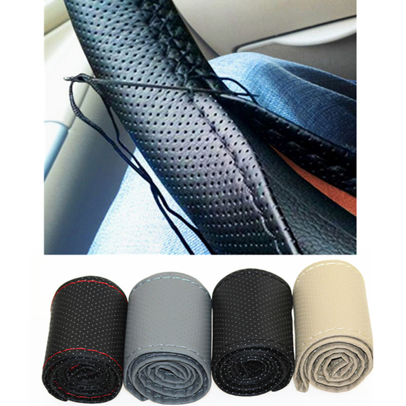 New Universal braid on the steering wheel Sew Microfiber car steering wheel cover to cover the entire single connector 38cm 38cm car steering wheel cover