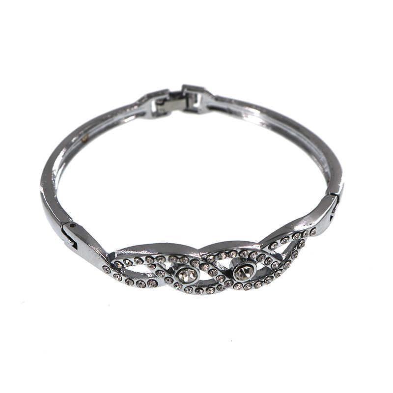 Мода, регулируемый Для женщин Браслеты резной кристалл простой посеребренные Руку Браслет Симпатичные манжеты Браслеты и Браслеты подарок для девочек