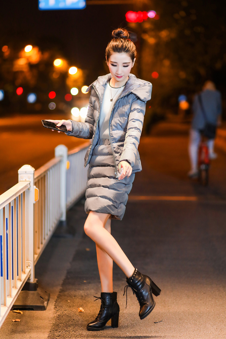 SexeMara Real Shot 2018 Winter New Down Cotton Suit Fashion Suit Female Small Fresh Warm Hooded Two-Piece Elegant Dress (20)