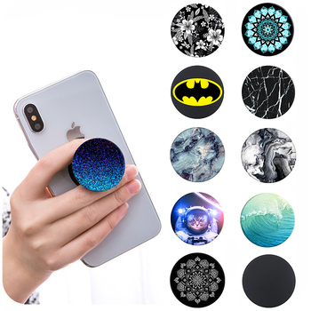 2018 New Pop Expanding Mobile Phone Holder Stand Grip For iPhone X 8 7 Plus Black Marble Mandala Round Socket Finger Ring Mount