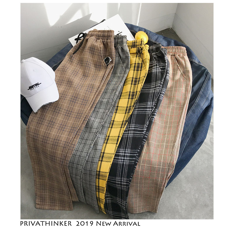 Privathinker Men Women Korean Black Plaid Casual Pants 2020 Mens Streetwear Harem Pants Male Checkered Trousers Plus Size