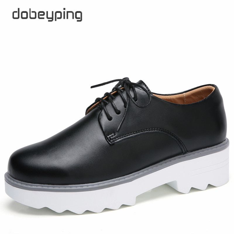 High Quality PU Women Shoes Lace-Up 2017 Autumn Woman Flats Shoes Solid Platform Ladies Footwear Round Toe Casual Female Loafers female high quality sweet bow knot plus size 35 44 round toe women shoes on flats casual footwear matching shoes and bags italy