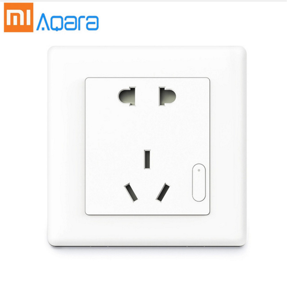 Original Xiaomi Aqara Smart Wall Socket Plug WiFi Wireless Remote Socket Adaptor Power on and off via Phone 10A/2500W joan manuel serrat concepcion