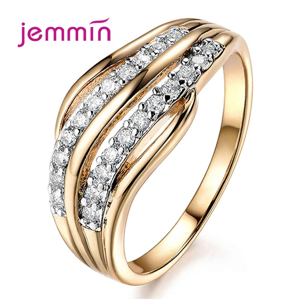 100% Pure 925 Sterling Silver Ring Bridal Luxury CZ Rhinestone Wedding Geometric Style Rings For Women Wedding Party Gifts