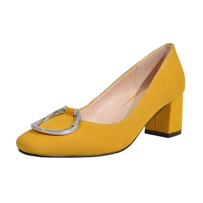 Pompes noir Chaussures Grande jaune 34 Cuir Taille Haute Kahaki Carré Lapolaka Slip Sur Élégant Mode rose Talons 43 Femme Véritable En 35qRjLS4cA
