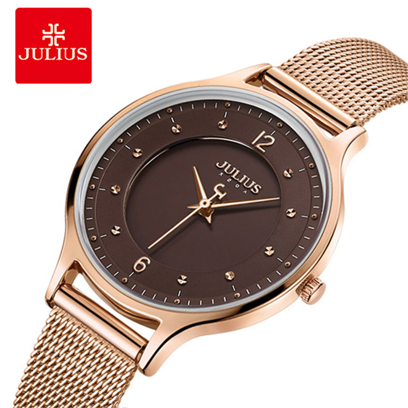 Julius Women Quartz Clock Watches Stainless Steel Mesh Belt ladies Bracelet Wrist watch Thin Dial Female Watch Relogio Feminino 2017 julius brand ladies women dress watches thin quartz watch steel mesh band luxury gold bracelet wristwatch relogio feminino