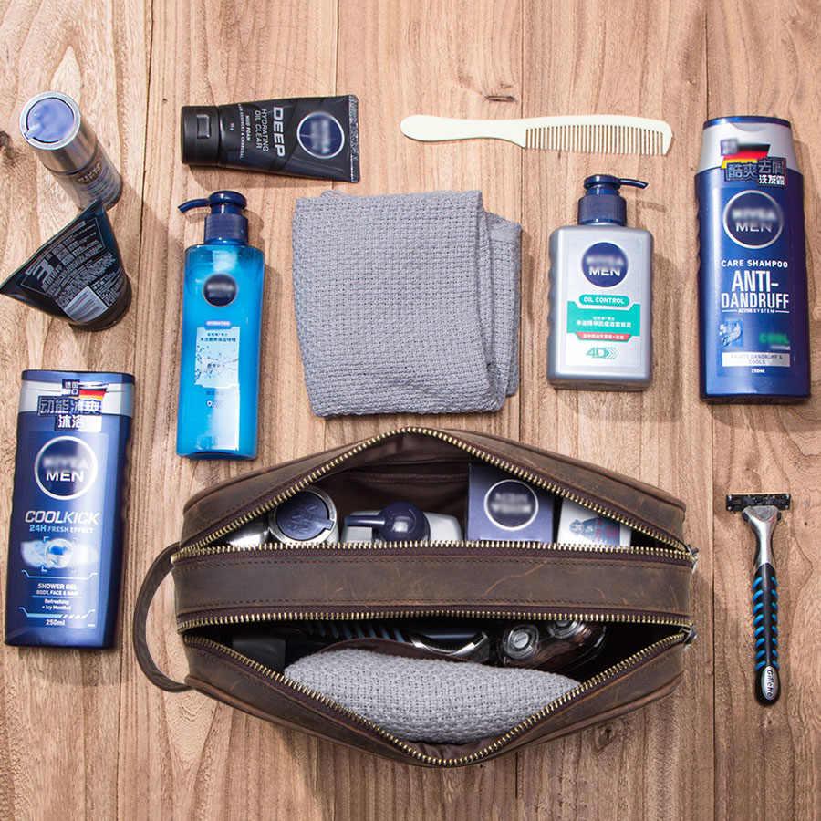 CONTACT'S cavalo louco dos homens de couro genuíno saco de cosmética masculina compõem sacos sacos de higiene pessoal saco de lavagem do vintage do homem organizador da viagem