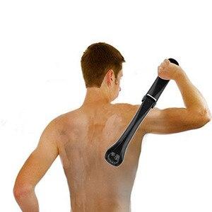 Image 3 - Men Shaving 180 Degrees Foldable Electric Back Hair Shaver Battery Manual Long Handle Hair Remover 1 Razor & 2 Blades