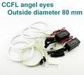 Excelente Ultrabright CCFL Angel Eyes kit completo anel OD 80mm Opções de tamanho: 70,75, 85,90, 94,97, 100,110,106,115,120,126,140,145 163mm