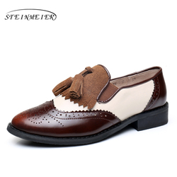 Women genuine leather tassel brogue oxford shoes woman silver brown handmade vintage retro casual flat shoes for women 2