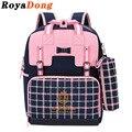 RoyaDong Crianças Escola Bags Para Meninas Miúdos Sacos de Moda Xadrez Conjunto Princesa Arco Bonito Mochila Escolar mochila Saco Um Dos Enfant