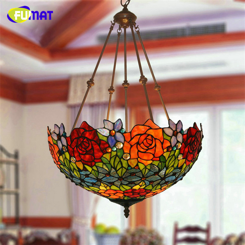 FUMAT Tiffany Pendant Lamp LED Rose Flower Stained Glass shade Hanglamp 16inch Retro hanging light fixture Lights