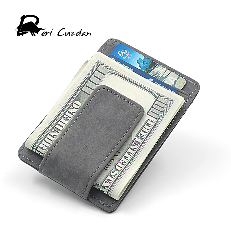 DERI CUZDAN Genuine Leather Mini Wallet Clamp for Money Clip Front Pocket Men's Wallet Card Portfolio Men Vintage Porte Cartes туфли deri