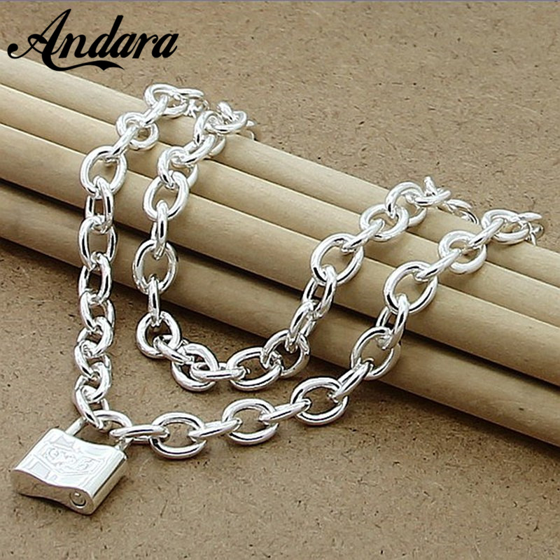 Classic Style 925 Silver Color Square Lock Pendant Necklaces For Women Men Brand Jewelry Lover Gift N147