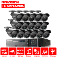 NINIVISION 16CH HD 4MP CCTV System 16pcs 1440P 4.0MP Security Cameras Outdoor Waterproof IP66 night vision CCTV Surveillance Kit