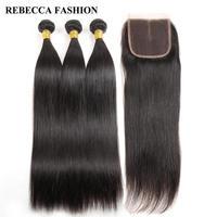 Rebecca Brazilian Virgin Hair With Closure Straight Human Hair 3 Bundles With Closure 4X4 Swiss Lace