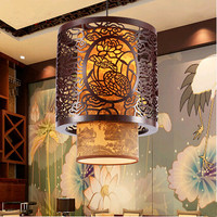 Chinese Creative Through Carved Wood Art Pendant Lights Imitation Modern Dark Brown Retro LED Lamps For