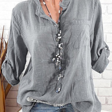 Large size Women's Blouse 2019 new long sleeve V-neck button top solid color cas