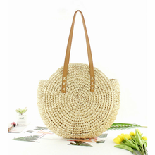 Straw bag Women's fashion shoulder bag center round rattan s