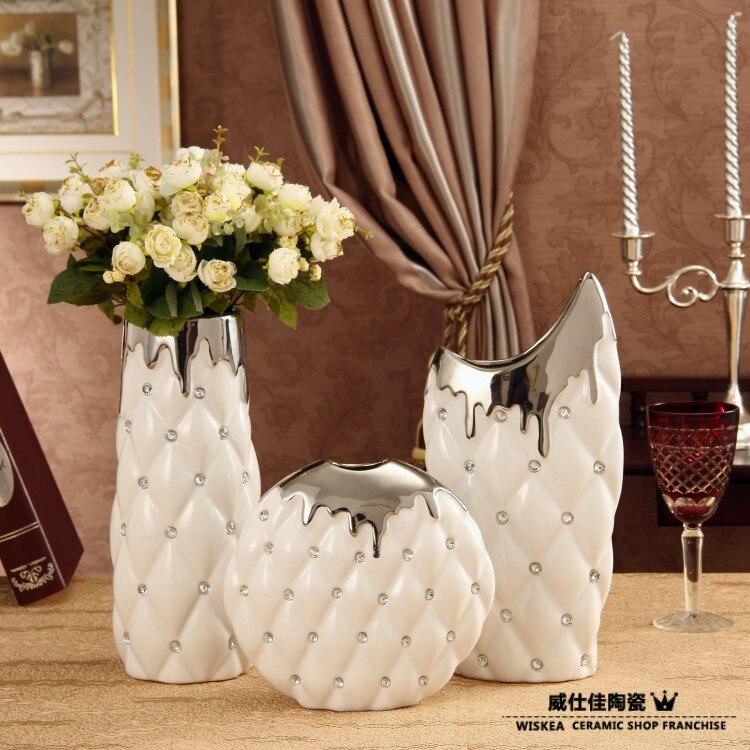 Wiskea mode woonaccessoires witte keramische vaas decoratie moderne mode decoratie reli f zilver - Mode decoratie ...