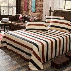 1 peça 100% algodão listrado impressão folha plana para crianças adultos único cama de casal lençóis planos (sem fronha) XF631-12