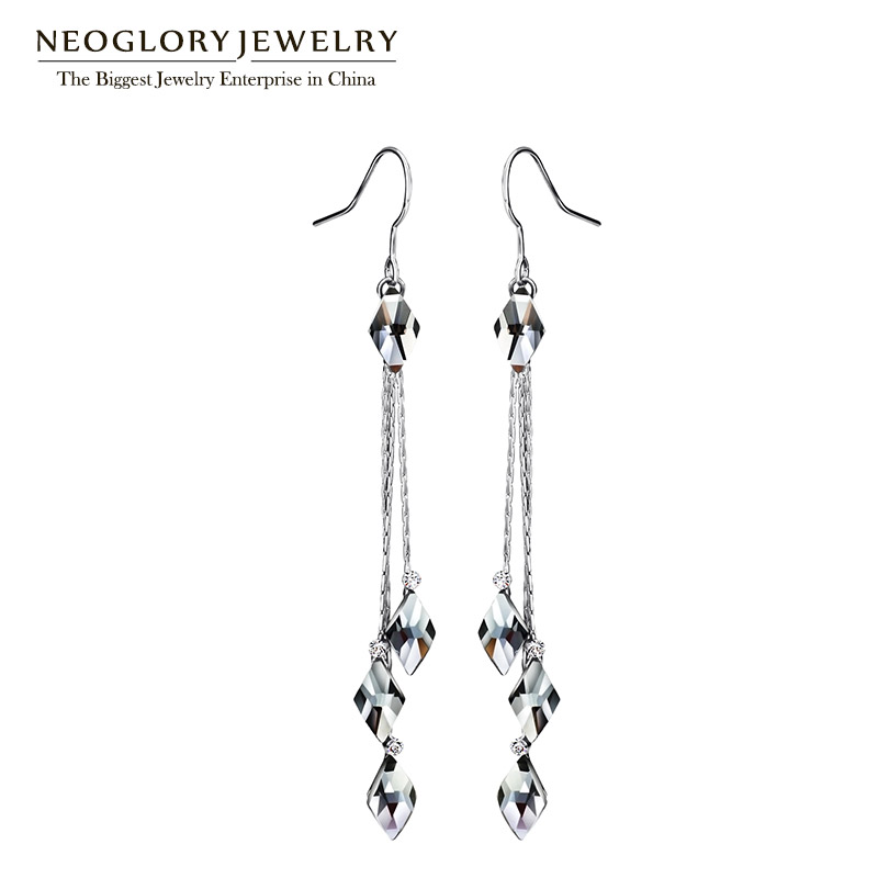 Neoglory Blue Crystal Long Tassel Wedding Dangle Drop Earrings For Women Vintage Gifts Fashion Jewelry 2018 New цены онлайн